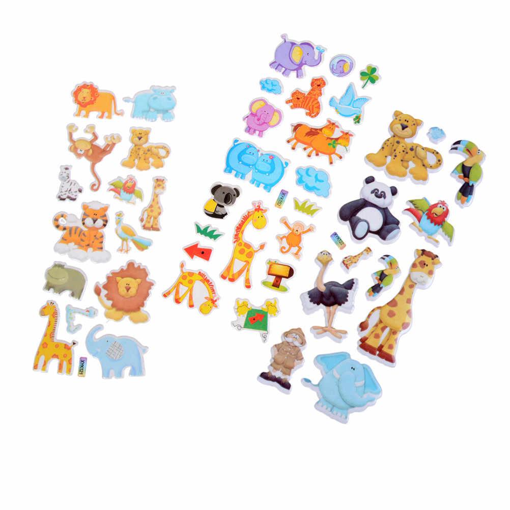 2018 جديد الكرتون الحيوانات حديقة الحيوان ملصقات ثلاثية الأبعاد الأطفال الفتيات الفتيان ملصقات بولي كلوريد الفينيل الاطفال اللعب 7.2*17 سنتيمتر