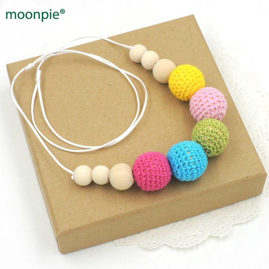 Пастельная Радуга кормящих ожерелье, Заявление, ювелирные изделия крючком мяч ожерелье Безопасные Детские Прорезыватель NW461