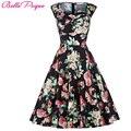 Mujer primavera verano estilo dress 2016 retro elegante vestidos robe rockabilly oscilación ocasional floral print vintage 50 s 60 s vestidos