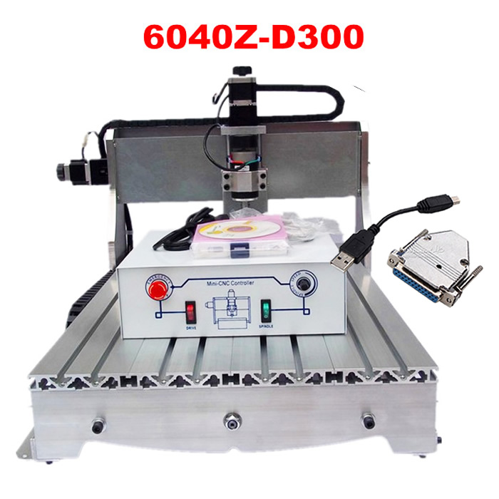 Newest USB port CNC Wood Router 6040Z Drilling Milling Engraving Machine with 300W Spindle, EU country free duty ������������