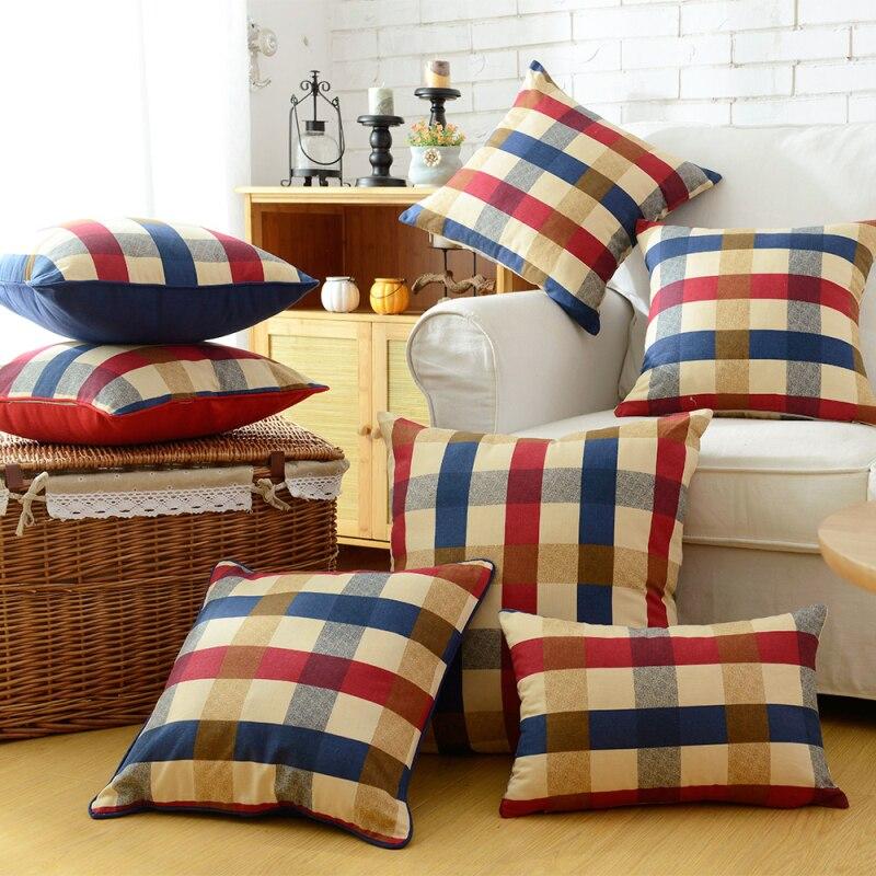 Bleu plaid canap achetez des lots petit prix bleu plaid for Plaid coton pour canape