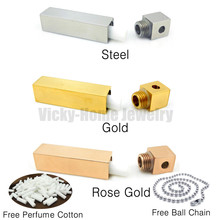 Free shipping couples pendant steel, gold color aroma pendant for essential
