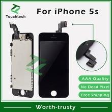 50 шт. B/W Замена Pantalla клон AAA для iPhone 5S ЖК-экран дисплей сенсорный дигитайзер с фронтальной камерой полная сборка
