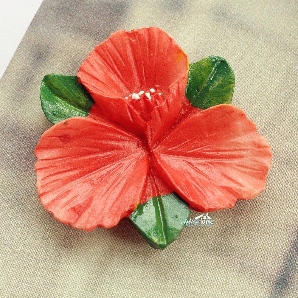 Orange Hibiscus Flower 3d Resin Decorative Fridge Magnet Craft Gift