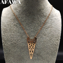 Fashion Vintage Stainless Steel Chain Necklace Women Rose Color Witchcraft Statement Jewelry acero inoxidable N18861