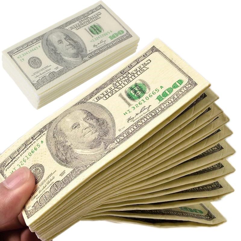 Slingifts  2 Packs (10Pcs/1 Pack) 3 Layers Soft Printing Dollars Bill Funny Money Toilet Tissue Paper