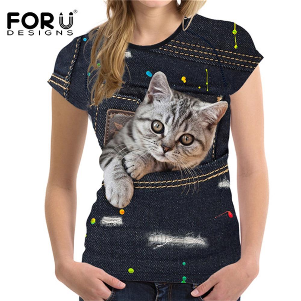 FORUDESIGNS Mignon Chat t-shirt pour Femmes Style D'été À Manches Courtes dames Top T-shirts 3D Noir Denim Poche Filles T-shirts Ropa Mujer