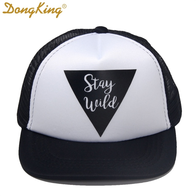 f66bde402e9 DongKing Kids Trucker Hat Stay Wild Print Trucker Cap Child Baby Son  Daughter Top Quality Baseball Snapback Hats Holiday Gift