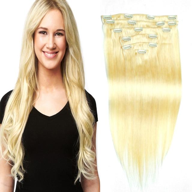 "Platinum Blonde Clip In Human Hair Extensions Brazilian Straight Clip In Hair Extensions 613#  200g 18 clips 16"" -26""  8Pcs/Set"