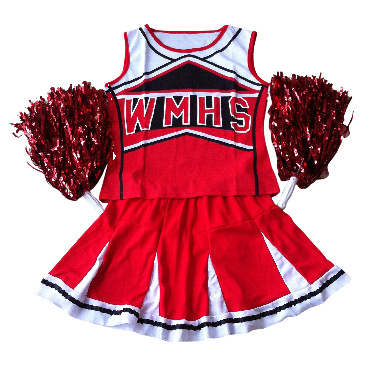 With 2 Pcs Pom Poms Tank Top Petticoat Pom Cheerleader 2 Piece Suit New Red Costume Dancing Uniforms School Students Dress 170cm