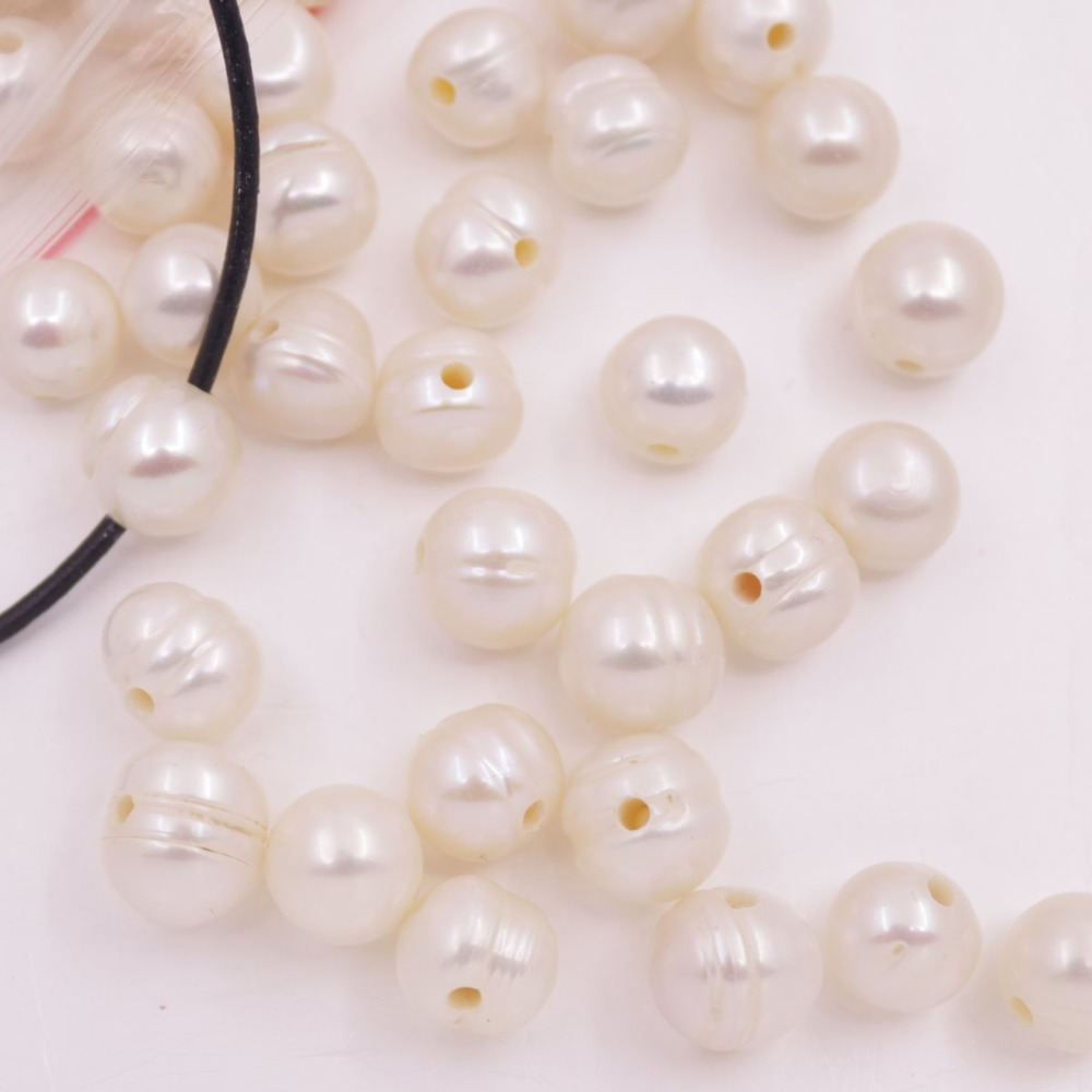 Купить с кэшбэком 100 PCS 10mm Nearly round Natural White Ringed Pearl Loose Beads 1.5mm Hole