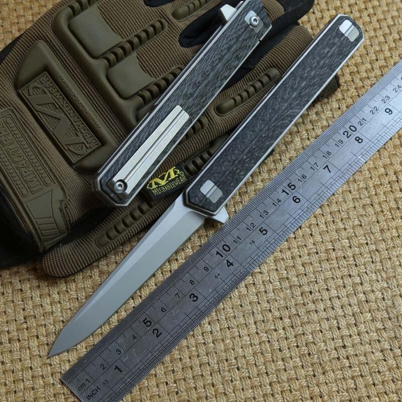 DICORIA QM Qwaiken Tactique Flipper couteau pliant Titane poignée M390 lame roulement à billes camping en plein air survie EDC outils