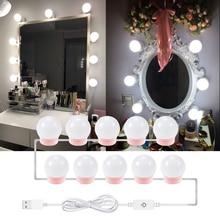 LED Makeup Lamp Vanity Mirror Light Hollywood Make up Cosmetic Desk Lights Bathroom Dimmable Dressing Table 6 10 14 Bulbs Kit недорого