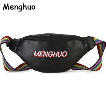 MENGHUO Waterproof Fanny Pack Hip Waist Pack Belt Pouch Women Unisex Waist Belt Bag PU Hologram Money Belts Travel Cashier Pouch holographic belt purse