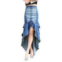 New Brand 2017 Spring Summer Fashion Slim Mermaid Style High Waist Long Denim Skirt Women Ruffles