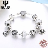 925 Sterling Silver Glittering Petals Clover Flower Heart Sparkling Clasp Charm Bracelets Women Valentine Gift Jewelry GYB018