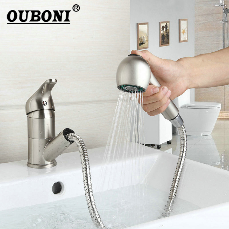 OUBONI Nickel Brushed Kitchen faucet Pull Out Deck Mount Mixer Cold and Hot Kitchen Tap Single Hole Water Tap цена