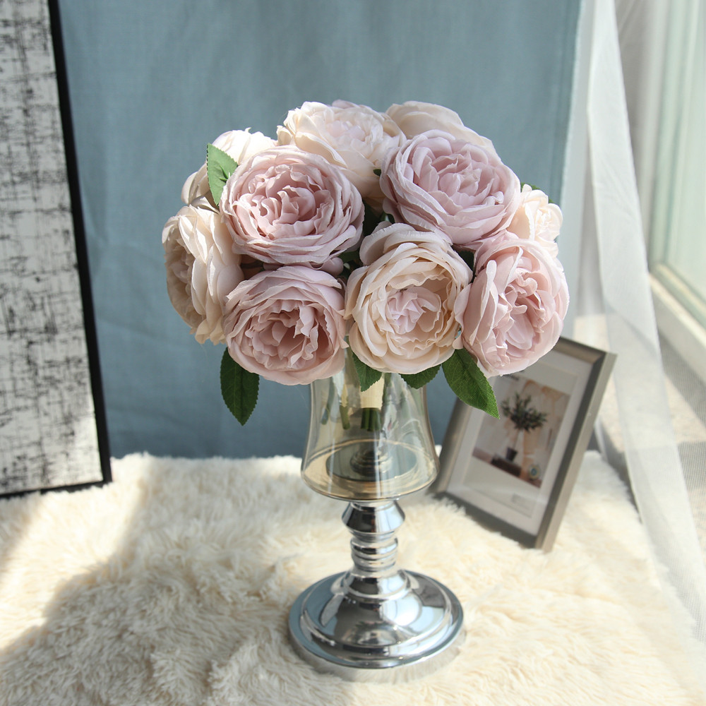 Fake flowers bedroom Living room Artificial Fake Rose Silk ...