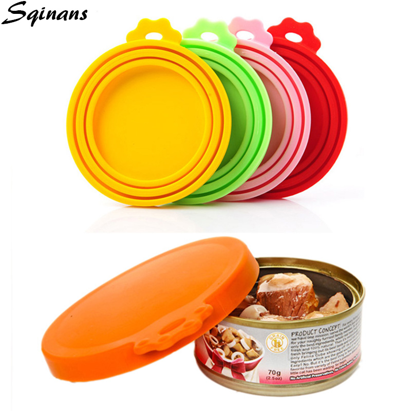 Sqinans Silicone Lid For Cans Reusable Seal Cover For Dog Cat Food Storage Water Feeding Bowl Lids Portable Pet Supplies