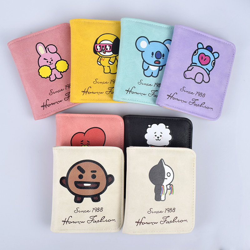 Fashion Bt21 Bts Wallets Kpop Short Zipper Coin Purse Female Card Holder Cartoon Printing Women Wallet bts Accessories billetera