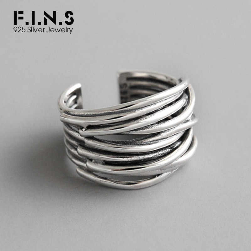 F.I.N.S 925 Sterling Silver Wide Twine Rings For Women Retro Vintage Statement Finger Ring Korean Fashion Jewelry for Decoration