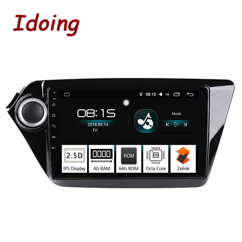 Idoing 94G+64G 2.5D IPS Screen Octa Core 1 Din Car Android8.0 Radio Player Fit Kia Ria K2 2012-2016 GPS Navigation and GLONASS