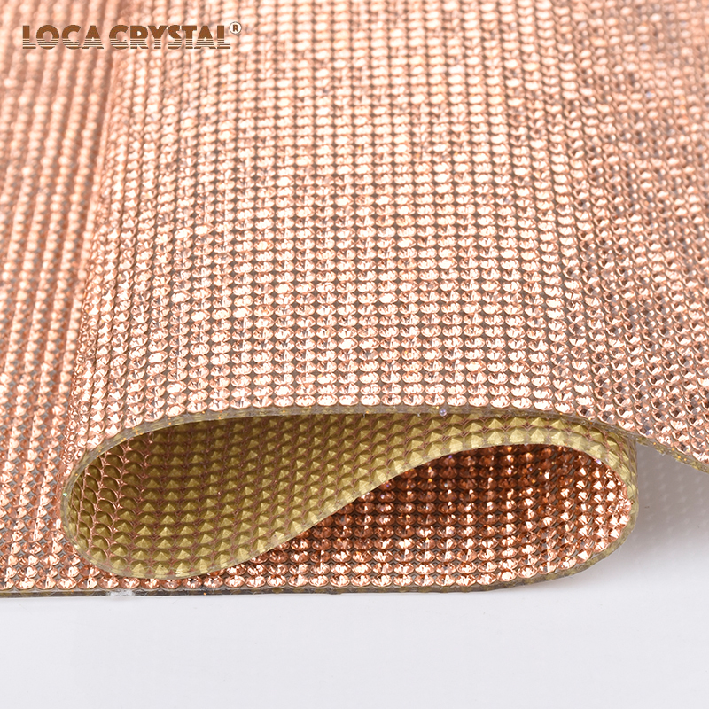 AAA Grade Round Pointback Light Peach Color Crystal Hotfix Rhinestone Mesh Sheet LOCACRYSTAL