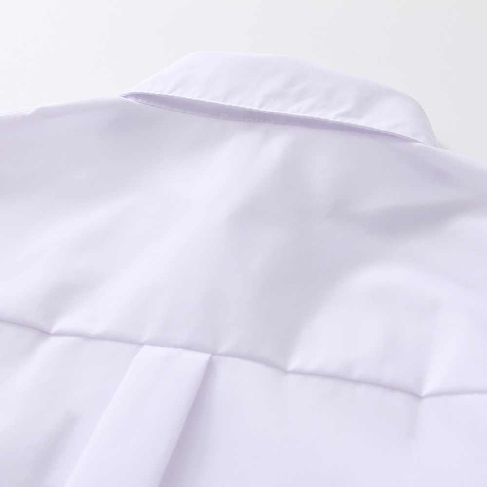 2019 Baru Kemeja Putih Kasual Button Turn Down Kerah Lengan Panjang Blus Katun Bordir Feminina Hot Sale T8D427M