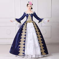 High Quality 2017 Blue Square Collar Long Flare Sleeve Embroidery Party Dress 18th Century Stage Show Princess Ball Gowns
