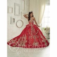 Herrlicher Schatz Rote Quinceanera Kleider Lace up Bonbon 16 Kleid vestidos de 15 anos Prinzessin Ballkleid abendkleid