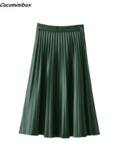 Cocominibox Women's Spring Summer Vintage Zipper A-Line  Faux PU Chiffon Pleated Skirt