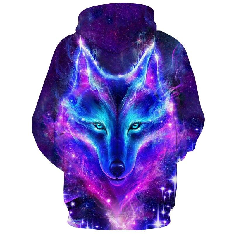 Eur Size Space Galaxy Wolf Hoodie Hoodies Men Women 2018