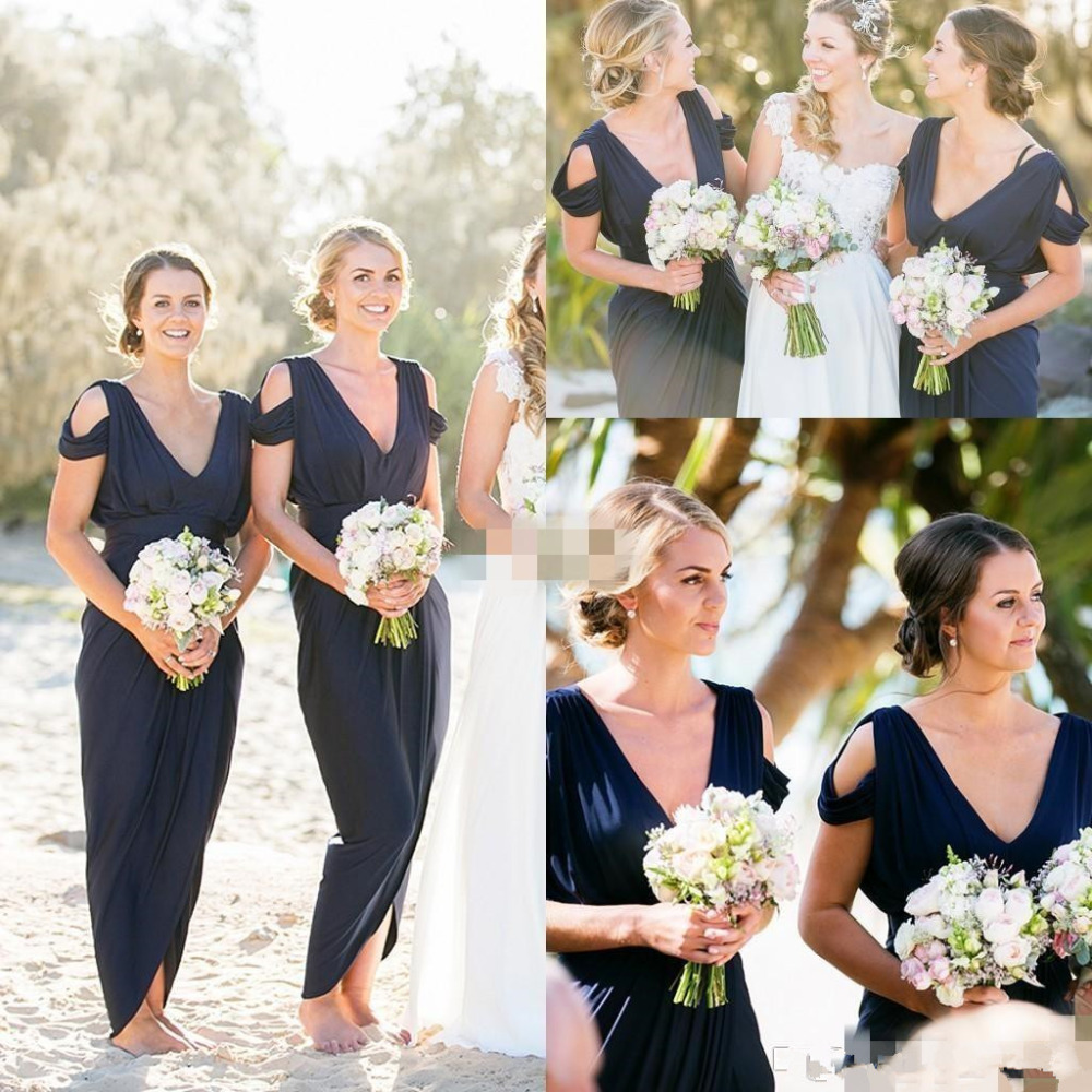 Popular cheap beach bridesmaids dresses buy cheap cheap beach 2017 navy blue chiffon bridesmaid dresses cheap western country style v neck pleats backless long ombrellifo Images
