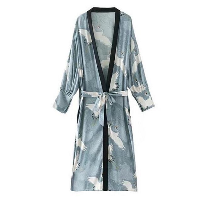 537410e0192b crane print wrap dress kimono long wrap oversized women dress cranes kimono  cardigan with sashes open stitch swing vestido
