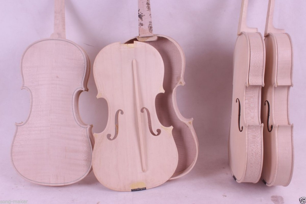 3 pcs Unfinished Violin White Violin Unglued Flame Maple wood back spruce 4/4