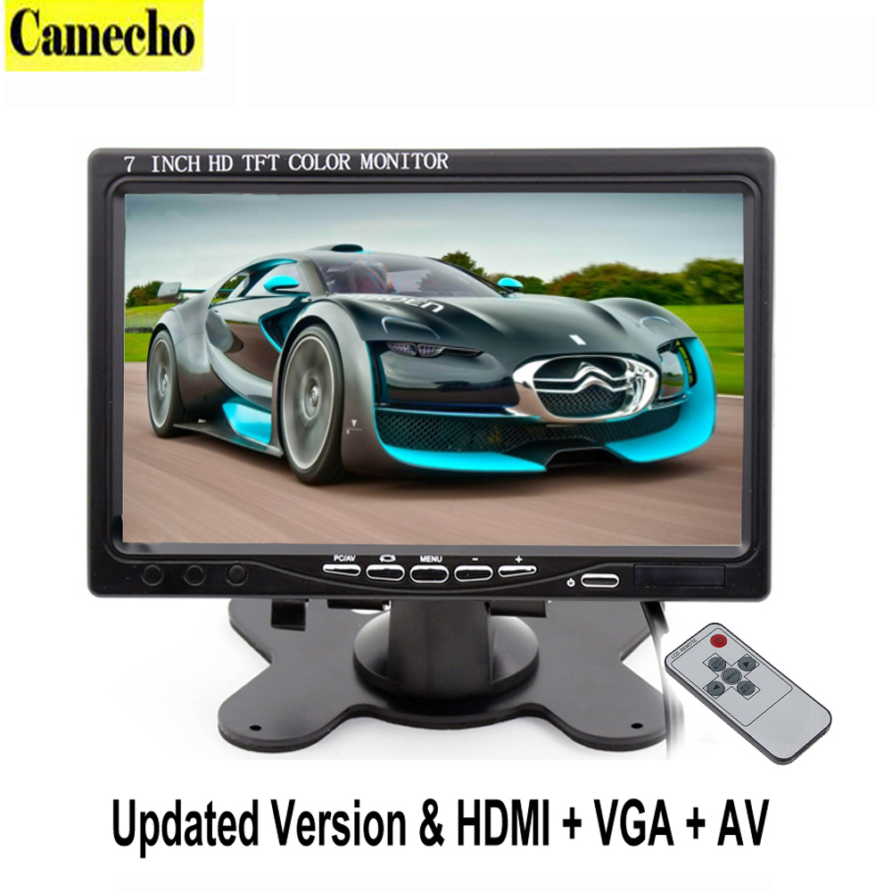 7 Inch TFT LCD Color Car Monitor 2 Video Input PC Audio Video Display VGA HDMI AV Input Security Monitor Screen Car-styling 17 inch tft cctv lcd 4 3 lcd color monitor screen display bnc vga av hdmi input with stand for hdmi microscope camera pc