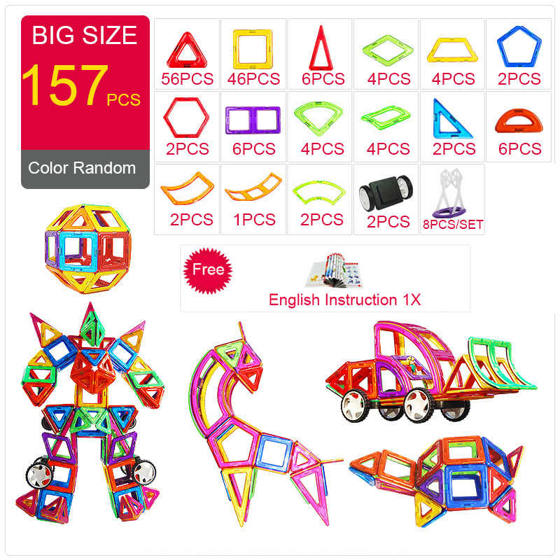 2018 Magnetic Designer Construction & Building Toys 44-157PCS Big Size Magnetic Blocks DIY Magnets Building Blocks Toys Gifts