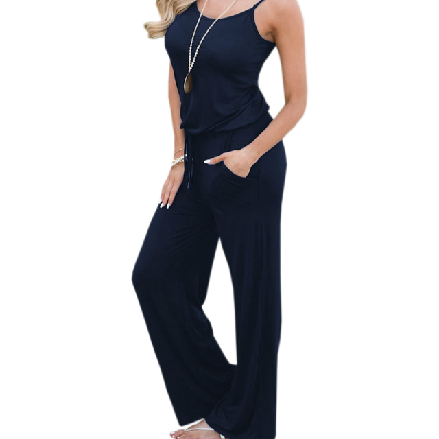 d6ecac53fed7 XXL Plus Size New Summer Jumpsuits Spaghetti Strap Women Long Playsuit  Solid Casual Jumpsuit Overalls Loose Wide Leg Pants GV049