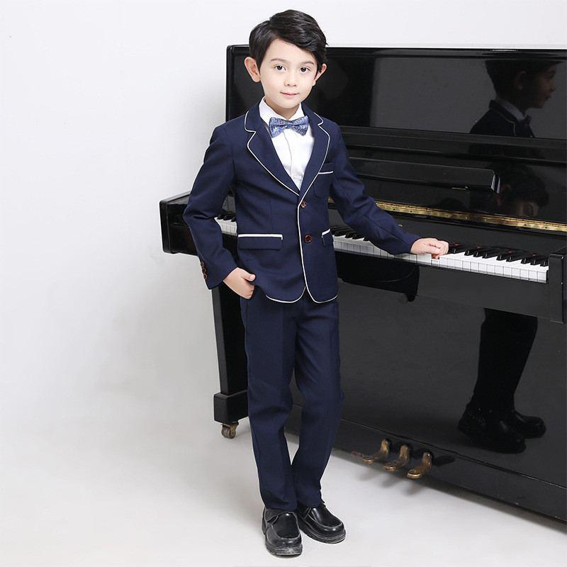 Nouveau bébé garçon costume pour mariage Piano fête enfants garçons Blazer + gilet + pantalon + chemise + noeud papillon 4/5 pièces enfants garçons costumes vêtements formels Y119