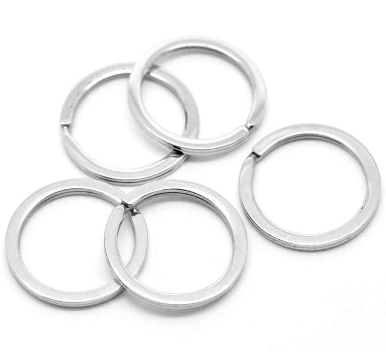 Llaveros de acero inoxidable de tono plateado de 5 piezas 28mm (1-1/8) nuevos accesorios de joyería fina de alta calidad para hombres y mujeres