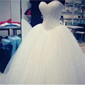 Lovely Sweetheart White Ball Gown Wedding Dresses Luxury Rhinestone Beaded Long Bridal Gowns Princess Wedding Dress For Bridal