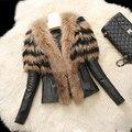 2016 Зима Новый женская мода Теплый Меховой Воротник Пальто Кожаная Куртка с длинным рукавом И Пиджаки LML119