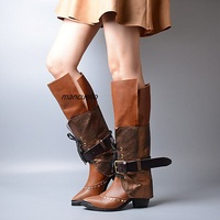 New Unique Design Rivets Block Heel Long Boots Brown PU Leather Pointy Buckle Shoes Stylish Chunky Heel Lace Up Knight Boots