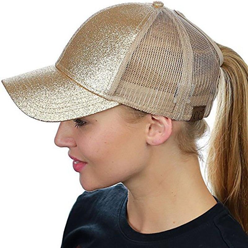 Drop Shipping Glitter Ponytail Baseball Cap Women Messy Bun Baseball Cap Girls Snapback Caps Summer Sports Mesh Hats