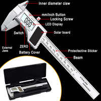 0-150MM Stainless Steel 6 inch Pachymeter Solar Power Digital Vernier Calipers Energy Digital pachometer Gauge Measuring Tools