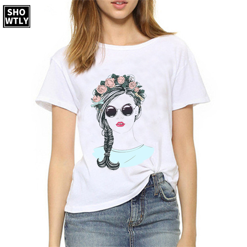 Showtly Spring Summer White Tshirt New Short hair women print Loose Fashion Top atitude indepdent women tshirt in T Shirts from Women 39 s Clothing