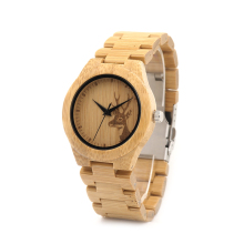 BOBO BIRD Natural Bamboo Wooden Watch Ladies with Dear Head Engrave with Full Bamboo Band Japanese 2035 Movement in Gift Box