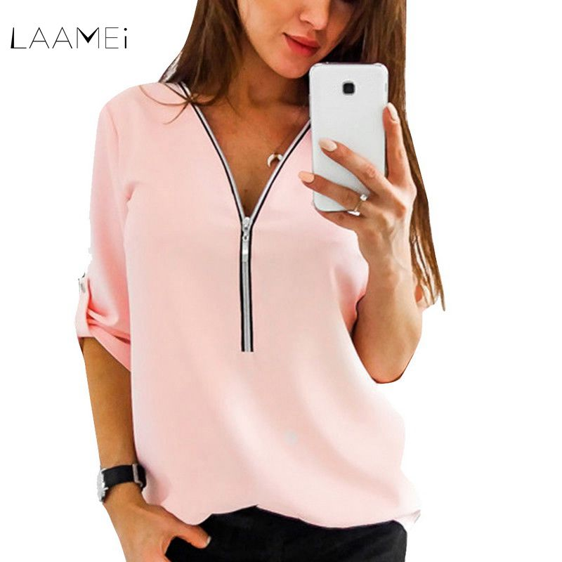 Laamei 2019 New Summer Fashion Women Shirts Classic Short Sleeve Sexy V Neck Zipper Casual Tee Shirts Tops Female Clothing
