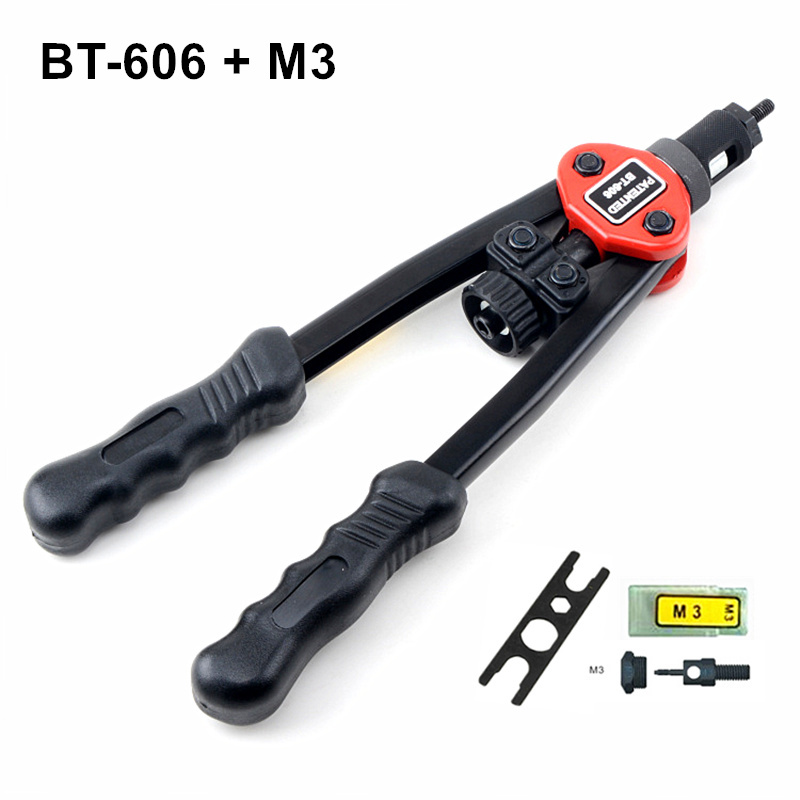 Hot sales high quality hand riveter pull rivet nut riveting tools with one M3 die free shipping BT-606 high quality 440mm 17 inch hand riveter pull rivet nut riveting tools with one die of m3 free shipping bt 604 auto remove nut