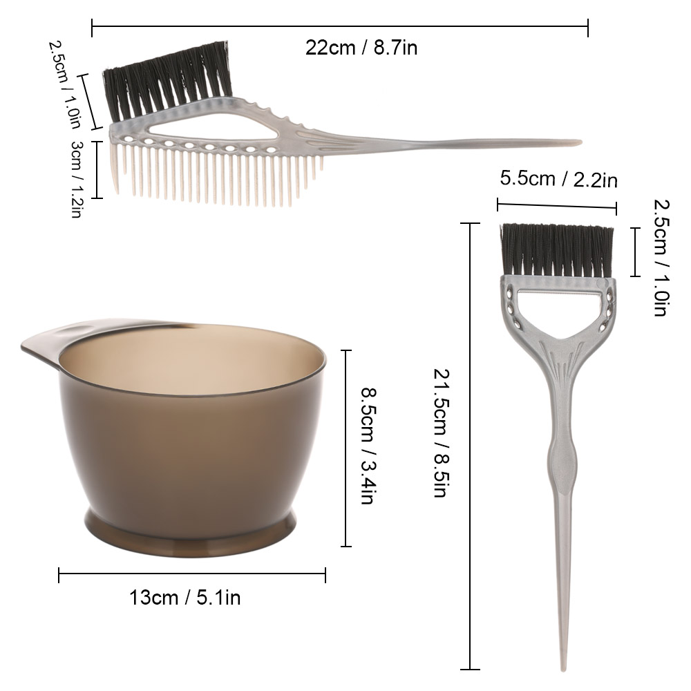 3Pcs/Set Hair Dye Colouring Brush Plastic Comb Bowl Hair Dyeing Kit Hair Color Mixing Bowl Hairdressing Accessories Styling Tool